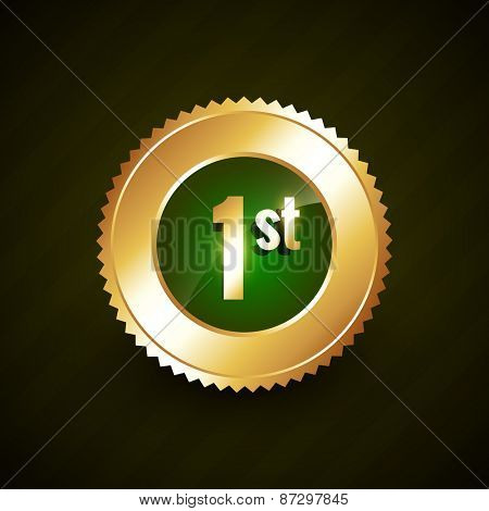 first number vector golden badge design illustration