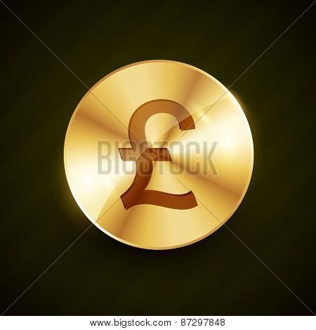 gold pound money symbol coin vector design illustration