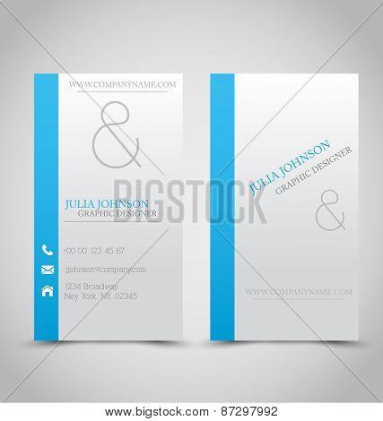 Blue business card set template