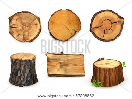 Wood, vector set banners and signs