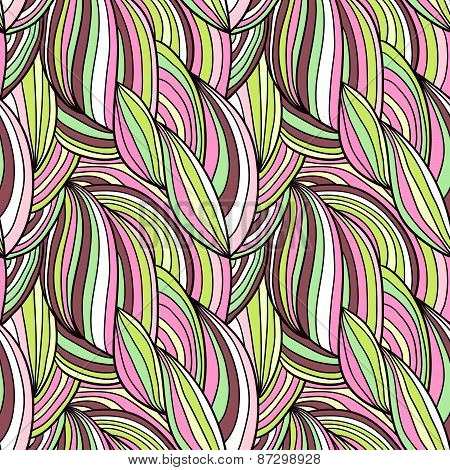 Seamless waves hand-drawn pattern