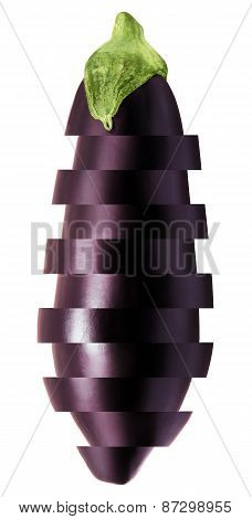 Sliced eggplant isolated on a white background