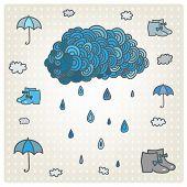 stock photo of rain cloud  - Vector stylizes drawn blue cloud with rain - JPG