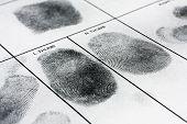 image of fingerprint  - Real human fingerprint on police fingerprint card - JPG