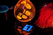 foto of dna fingerprinting  - True fluorescence fingerprint with ruler and number - JPG
