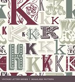 picture of letter k  - Seamless vintage pattern of the letter K in retro colors - JPG