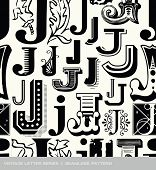 picture of letter j  - Seamless vintage pattern of the letter J - JPG