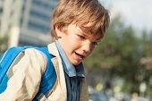 pic of schoolboys  - Portrait of happy schoolboy with backpack outdoor - JPG