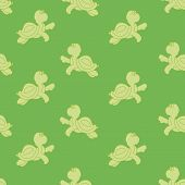 image of green turtle  - Seamless ornament composed of small solid turtles on a green background - JPG