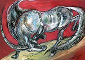pic of unicorn  - animalistic graphic illustration unicorn running on the red background - JPG