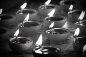 picture of pooja  - traditional oil lamp in black and white