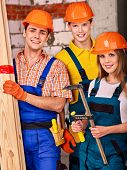 pic of millwright  - Happy group people in builder uniform - JPG