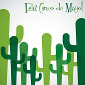stock photo of mexican fiesta  - Overlay cactus Cinco de Mayo card in vector format - JPG