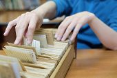 pic of librarian  - Librarian woman searches something in card catalog - JPG