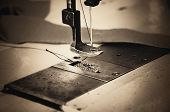 pic of thread-making  - part of sewing machine and fabric - JPG
