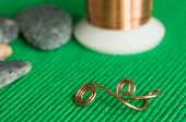 image of copper  - Stones copper wire and element from a copper wire