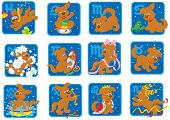 stock photo of zodiac sign  - Zodiac signs with a funny brown pup playing - JPG