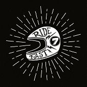 image of silkscreening  - Retro biker helmet illustration with hand lettering - JPG