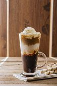 image of frappe  - iced coffee with milk and ice cream - JPG