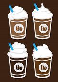 picture of frappe  - Set of four vector illustration of iced coffee with whip cream and blue straw in plastic cup isolated on brown background - JPG