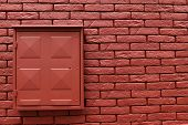 stock photo of tile cladding  - Brick wall background horizontal metal box on the wall - JPG