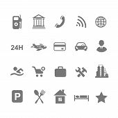 pic of tourist-spot  - location icons  set isolated on white airport car  shopping restaurant hotel gas station - JPG