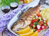 image of mashed potatoes  - Fried fish served with mashed potato - JPG