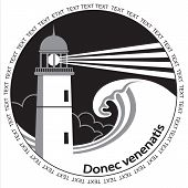 foto of lighthouse  - Lighthouse and sea wave label - JPG