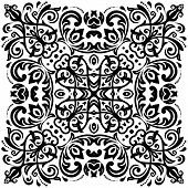 picture of damask  - Damask vector floral pattern with arabesque and oriental black elements - JPG