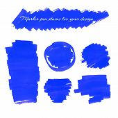 picture of marker pen  - Blue marker pen spots and lines isolated on a white background for your design - JPG