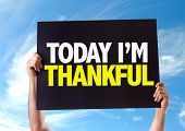 image of give thanks  - Today Im Thankful card with sky background - JPG
