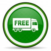 stock photo of free-trade  - free delivery green icon transport sign  - JPG