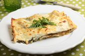 foto of lasagna  - Lasagna with arugula on a served table - JPG