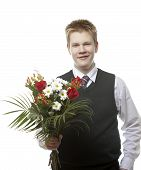 image of senior class  - The pupil of the senior classes in a school uniform with a bouquet of flowers - JPG