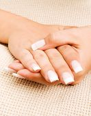 pic of french manicure  - Young woman with french manicure close up - JPG