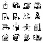 stock photo of shipping receiving  - set of 16 logistic and shipping icons - JPG