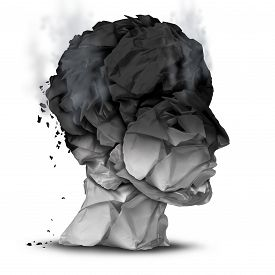 picture of emotion  - Burnout overworked concept and work stress symbol for a psychological emotional disorder diagnosis as a human head made of burnt office paper on a white background - JPG