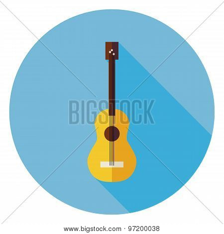 Flat Acoustic String Guitar Circle Icon With Long Shadow