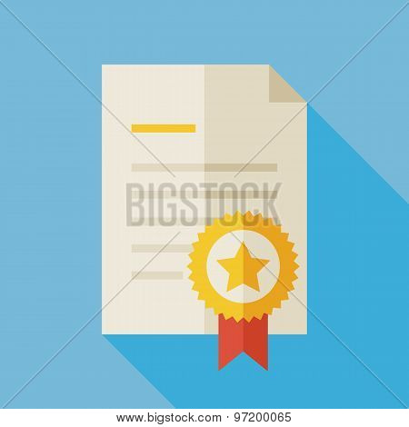 Flat Award Diploma Illustration With Long Shadow