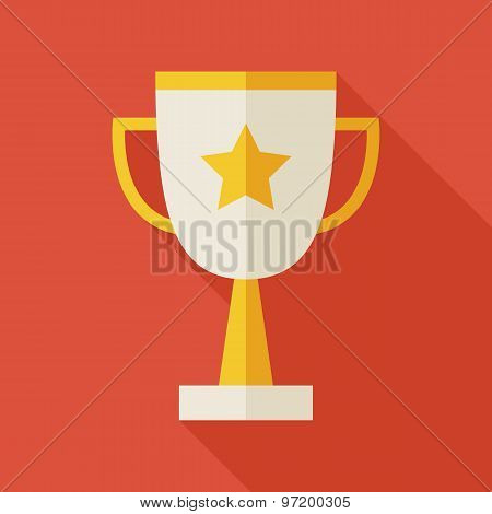 Flat Award Gold Trophy Cup Illustration With Long Shadow
