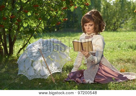 Girl With Book And Umbrella