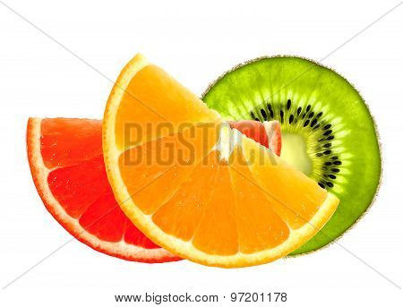 Fresh Orange, Kiwi And Grapefruit Slices Isolated On White