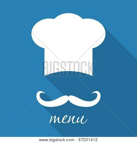 Big Chef Hat With Mustache Vector Illustration.