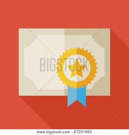 Flat Diploma Award Paper Illustration With Long Shadow