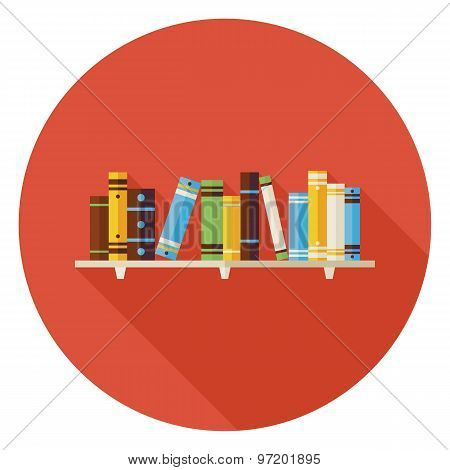 Flat Education Reading Books With Bookshelf Icon With Long Shadow