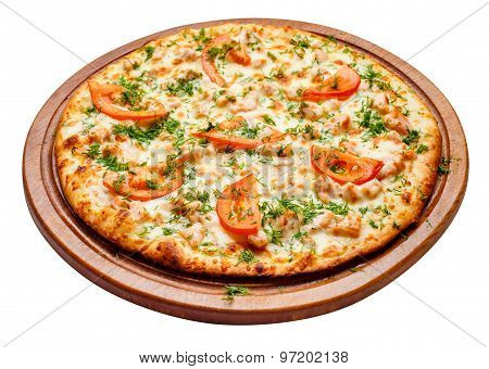 pizza on wooden plate