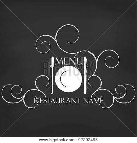 Restaurant menu on blackboard background.