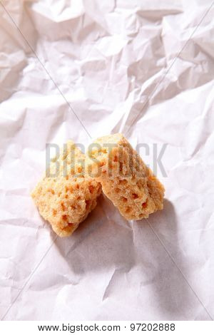 close up of the brown candy