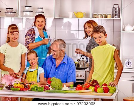 Big happy family have breakfast at kitchen.