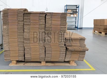 Front View Of Folded Cardboard Boxes In Assembly Hall